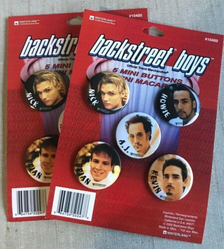 2 Carded sets of Backstreet Boys 5 Mini Buttons