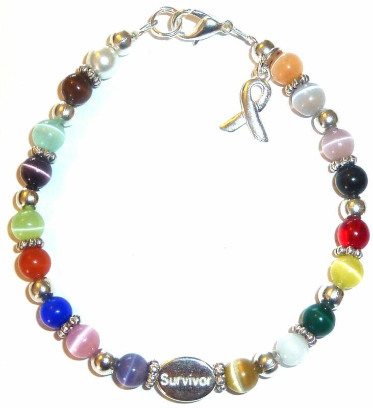 Bracelet-Multi-Survivor,18 Colors Packaged Cancer Awareness Bracelet- Survivor