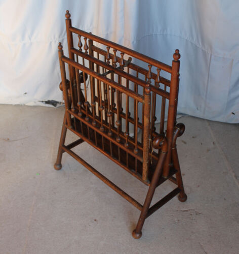 Antique Oak Stick and Ball Style Magazine Rack