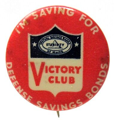 WWII Maine Mutual VICTORY CLUB Defense Savings Bonds pinback button Home Front ^