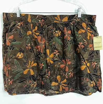 SALE!-Sonoma Womens XL Skirt NWT Frappucino Floral Lined Pull On Elastic Waist
