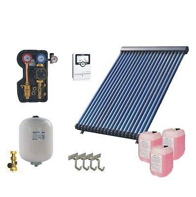 76 Vakuum (Solaranlage Komplettpaket 3,76m² mit Vakuumkollektor HeatPipe für Warmwasser)