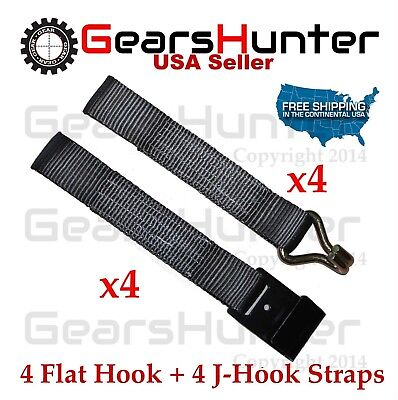 "2"" J-Hook + Flat Hook Ratchet Tie Down Web Cargo Tow Straps Truck (Set of 8)"