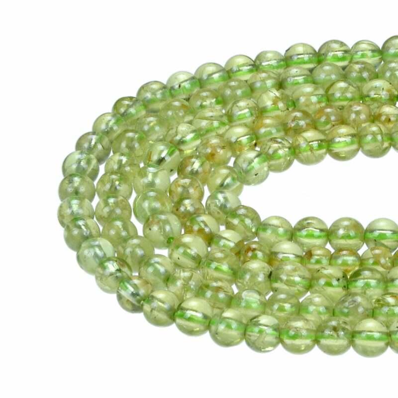 "Natural Peridot Smooth Round Beads Size 4mm 15.5"" Strand"