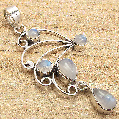Natural RAINBOW MOONSTONE CUTE Pendant ! Silver Plated FACTORY DIRECT Jewelry - Factory Direct Jewelry