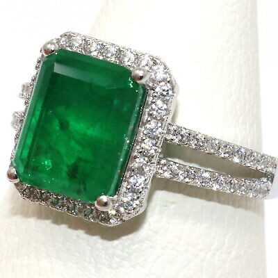 3CT Natural Genuine Colombian Emerald Ring Women Birthday Jewelry Gold Plated