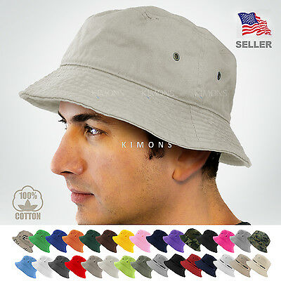 Bucket Hat Cap Cotton Fishing Boonie Brim visor Sun Safari Summer Men Camping (Hat Fish)