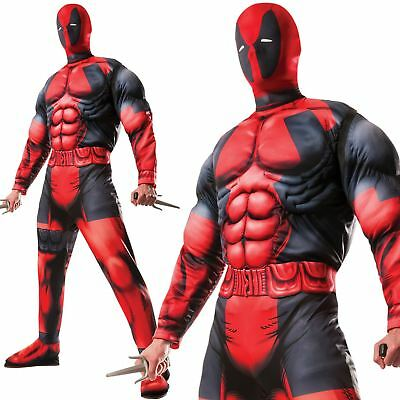 Adult Official Deluxe Marvel Deadpool Muscle Chest Fancy Dress Costume Cosplay (Official Marvel Costumes)