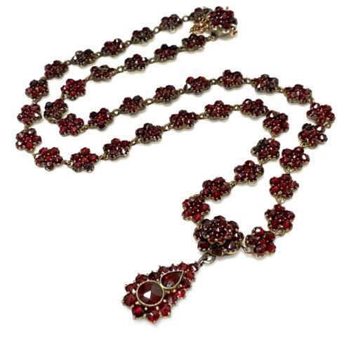 Antique Magnificent Victorian Bohemian Garnet Dangle Drop Gold Gilt Necklace Vtg