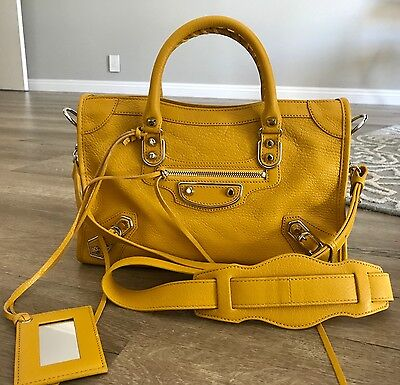 NWT Brand New Balenciaga Edge City Small Leather Tote Bag in Yellow GHW $2000+