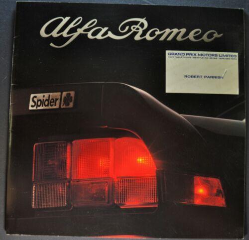 1987-1988 Alfa Romeo Spider Brochure Veloce Quadrifoglio Graduate Nice Original