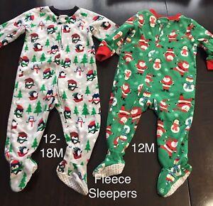 Fleece Christmas Sleepers 12-18M