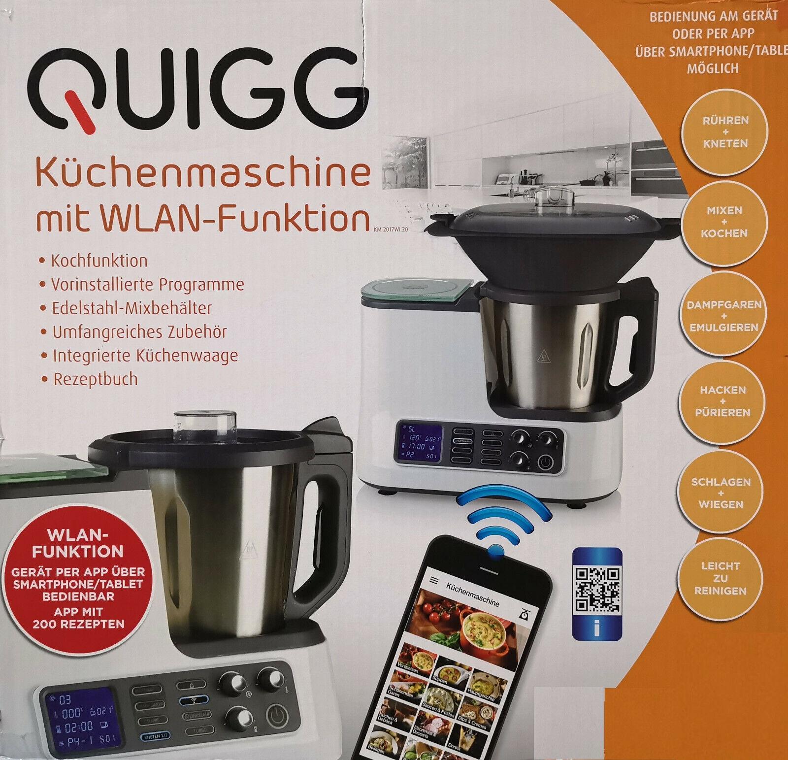 Quigg Küchenmaschine mit WLAN Funktion Kochfunktion Waage App Smartphone