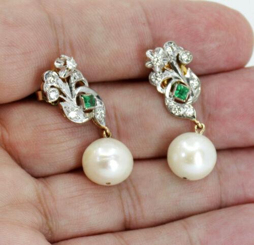ART DECO DIAMOND EMERALD AND PEARL DANGLE EARRINGS IN 18K GOLD