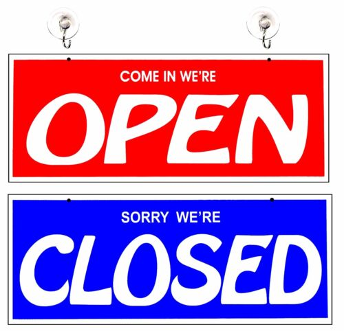 Open and Closed  Signs for Business Two-Sided Large Storefront Shop Salon Sign