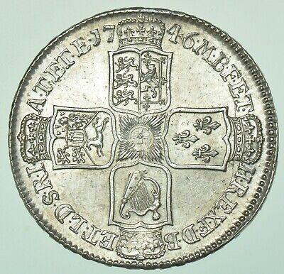 1746 LIMA HALFCROWN, D.NONO, BRITISH SILVER COIN FROM GEORGE II AU