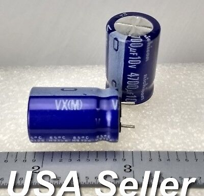 Lot Of 3 4700uf 10v Nichicon Vx Series Electrolytic Capacitors - Fast Shipping