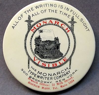 c.1910 MONARCH VISIBLE TYPEWRITER Boston advertising celluloid pocket mirror *