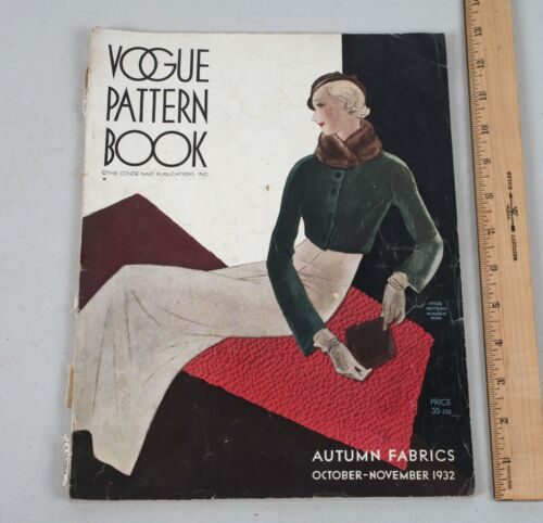 Vintage Vogue Pattern Book Magazine Autumn Fabrics Fashion October 1932