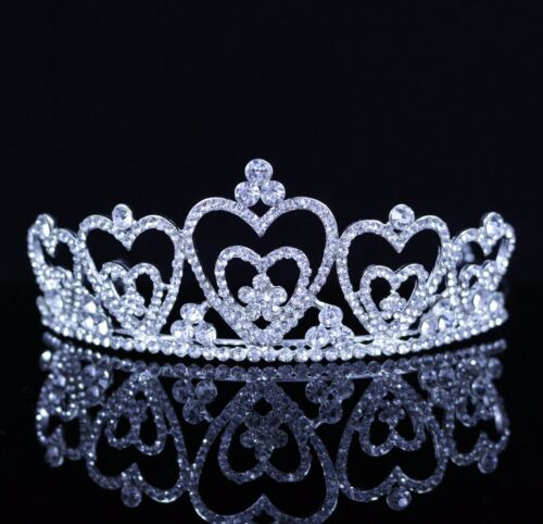 Hearts Austrian Crystal Rhinestones Tiara Crown Bridal Pageant Prom Party T41