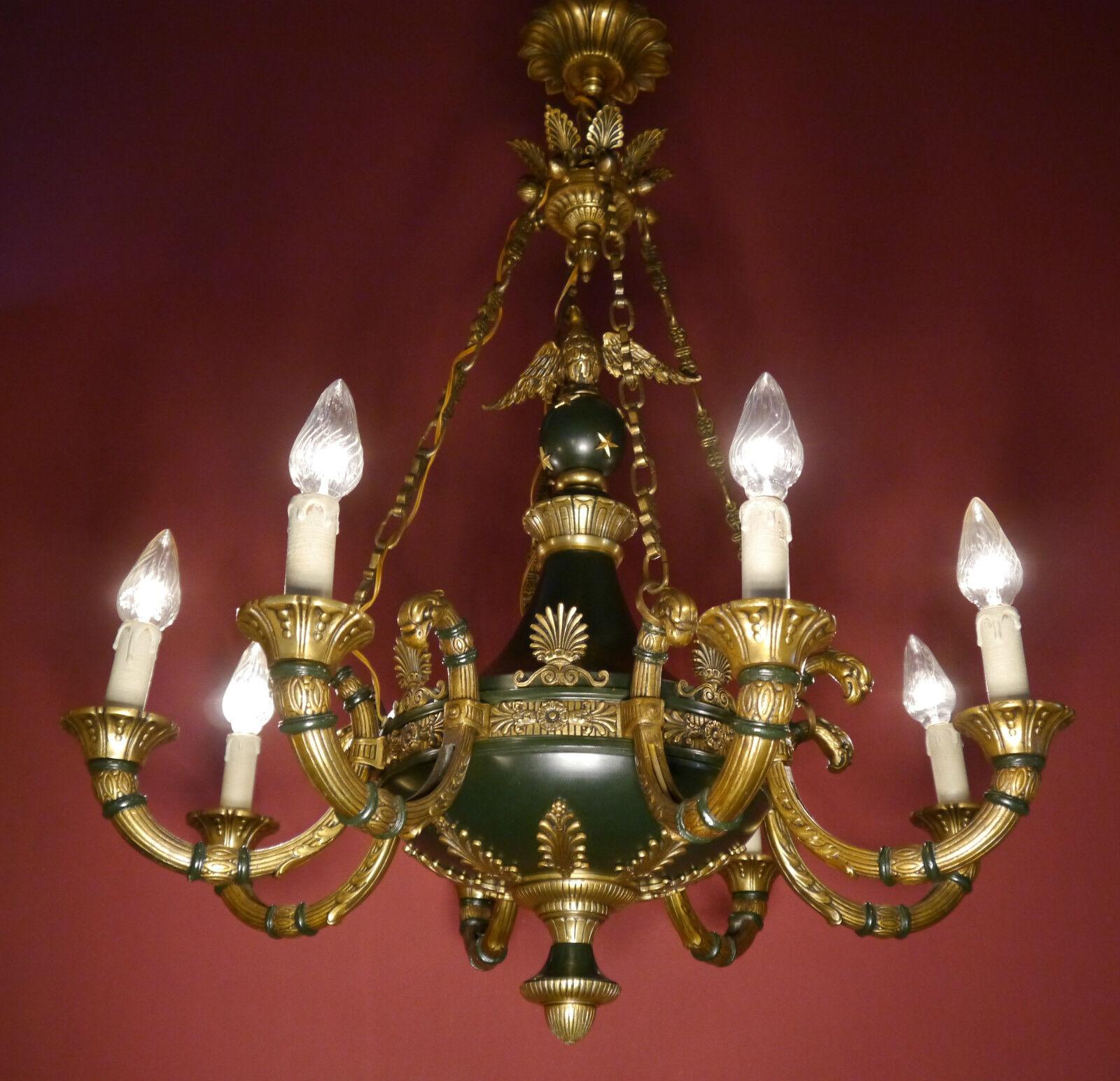 RARE BIG 8 LIGHT BRASS FRENCH EMPIRE CHANDELIER VINTAGE LAMP ANCIENT ANTIQUE