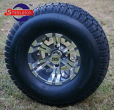 "GOLF CART 10"" GUNMETAL VAMPIRE ALUMINUM WHEELS and 22"" STREET/TURF TIRES (4)"