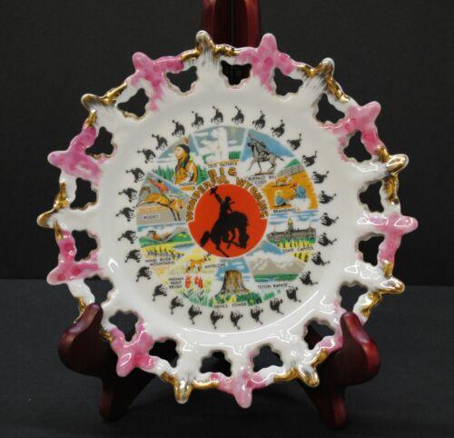 "Big Wonderful Wyoming, Vintage Souvenir Plate, 8.25""x8.25""x0.5"""