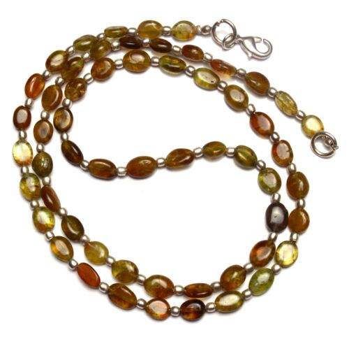 """Natural Gem Grossular Garnet Smooth 7x5 to 8x6MM Oval Nuggets Necklace 22"""" 93Cts"""