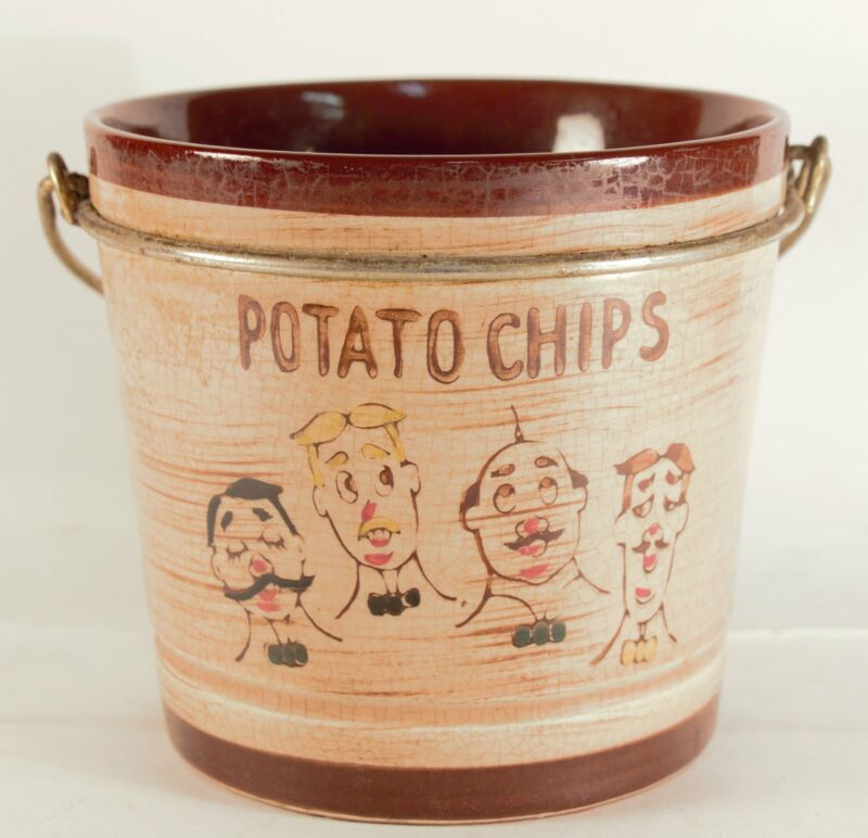 """Vintage Ceramic """"Potato Chips"""" Bucket With Handle. Made In Japan"""