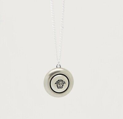 Up-cycled Versace Button Necklace Silver Engraved Vintage