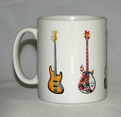 Bass Guitar Mug. 5 Famous bass guitars on a mug.