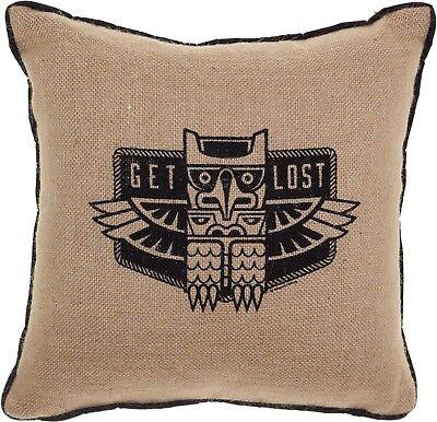 """78102 Get Lost Burlap 12"""" Throw Pillow Owl Bird Totem Hipster Travel Sourpuss"""