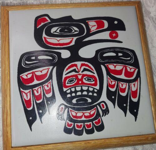 Pacific Northwest Native American ceramic Raven Tile Trivet 7×7
