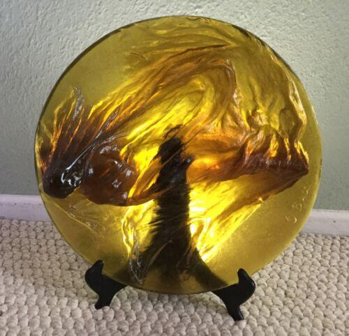 Daum Glass Draped Venus Plaque Ltd Ed # 74/200 Olivier Brice, Signed Daum France