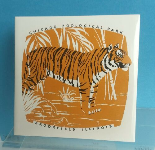 Vintage Signed Artistic Ceramic Tile of Tiger Chicago Zoological Society