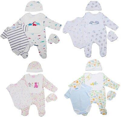 Baby Girl Boy Sleepsuit Vest Bib Mitts Cap Layette 5 Piece Starter Gift Present