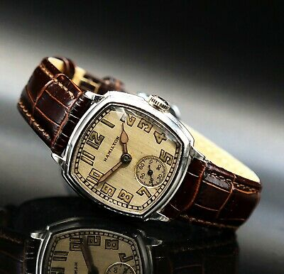 Rare 1929 Hamilton Man's White Gold Filled Art Deco Wrist Watch, 987-F, NO RES!