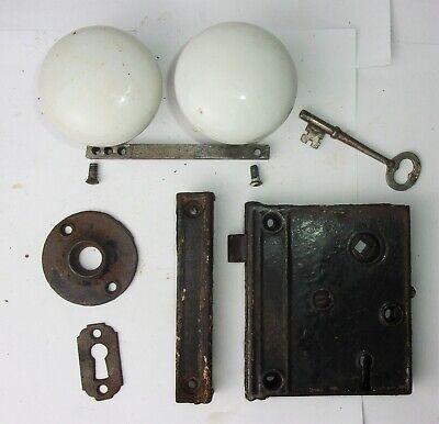 Antique Set White Porcelain Door Knobs Surface Mount Mortise Lock Key Escutcheon