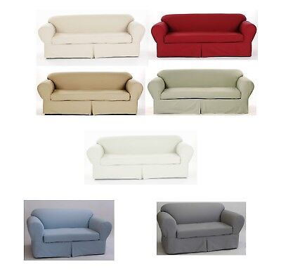 Cotton Loveseat - Cotton Slipcover Brushed Twill 2-piece Cushion Couch Sofa Loveseat Armchair