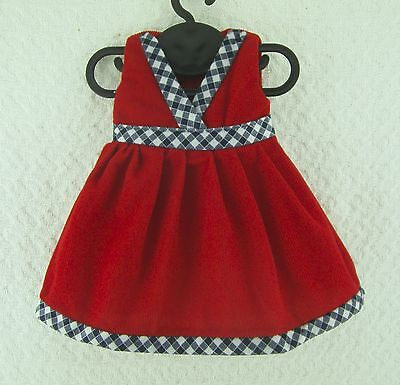 Doll Clothes Handmade Red Checked Dress 18