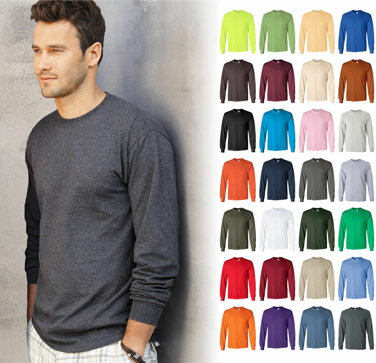 ultra cotton mens crewneck long sleeve t