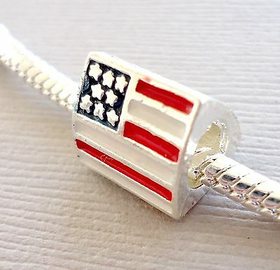 - Charm Bead American Flag Fits European Charm Bracelet or Necklace C160