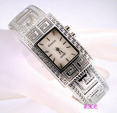 Vintage Deco Greek Key Mosaic  Silver Rhodium Plated Bangle  Light Up Watch Cuff