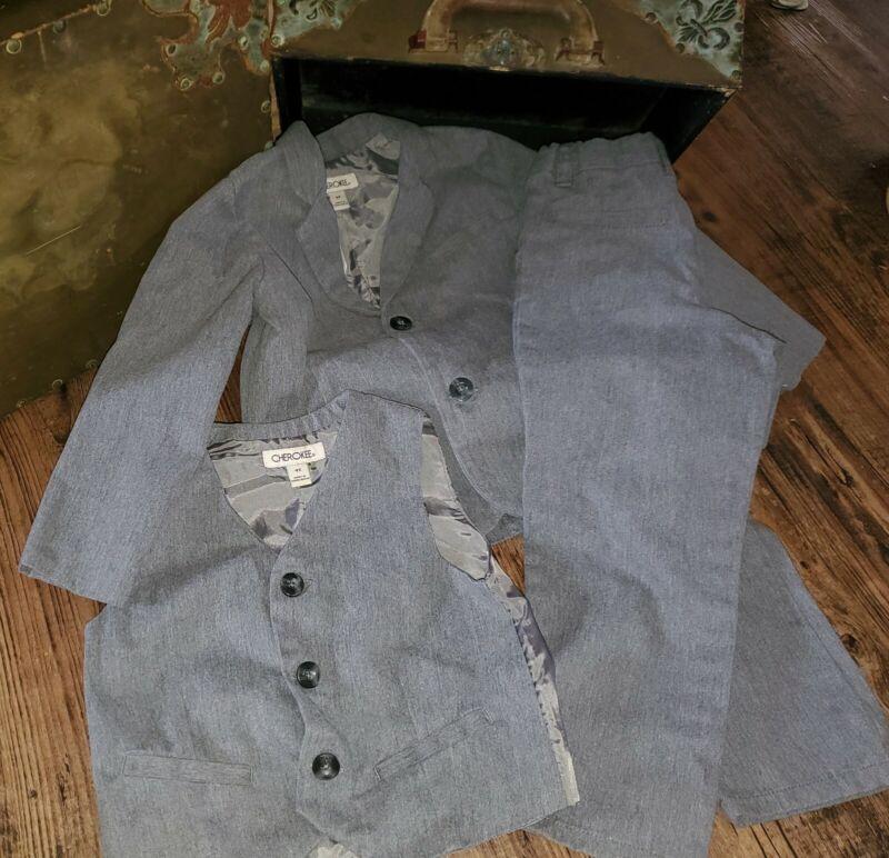 Cherokee Gray 3 Piece Suit Blazer Vest Dress Pants Size 4T *