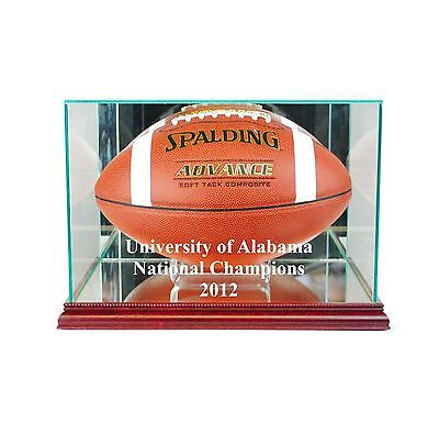 University of Alabama National Champions Glass Football Display Case Made in USA