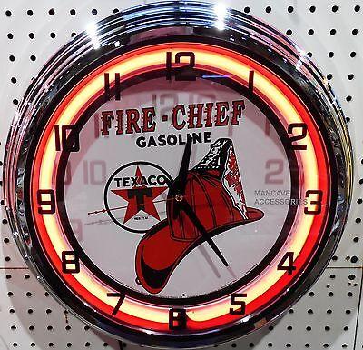 "17"" TEXACO Fire Chief Gasoline Motor Oil Gas Station Sign Neon Clock"