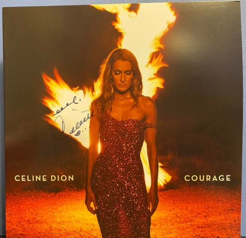 "Celine Dion signed Courage 12"" lp album RED VINYL"