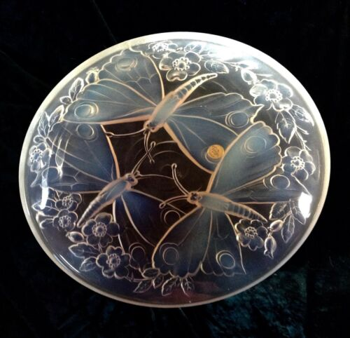 Vintage Verlys Hand Signed Frosted Opalescent Art Glass Bowl Dragonflies Flowers