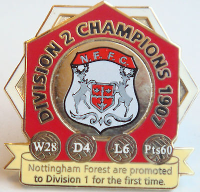 NOTTINGHAM FOREST VICTORY PINS 1907 Div 2 CHAMPIONS Badge Danbury Mint