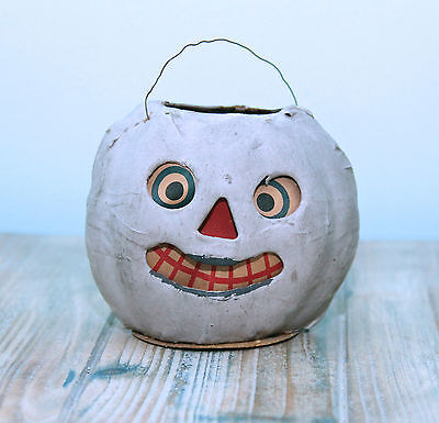 RARE ANTIQUE GERMAN HALLOWEEN GHOUL GHOST JOL CONTAINER c1910!